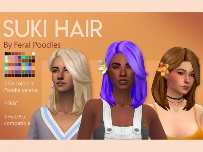 Sims 4 Suki Hair by feralpoodles at TSR