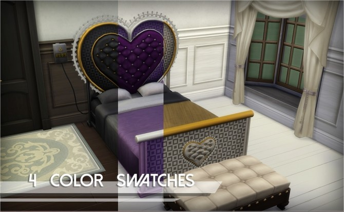 Sims 4 Vibromatic Heart bed by Mathcope at Sims 4 Studio