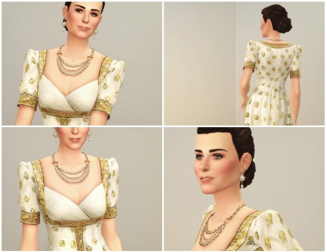 Sims 4 Gold Embroidered White Gown at Rusty Nail