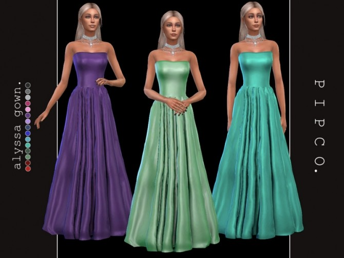 Sims 4 Alyssa gown by Pipco at TSR