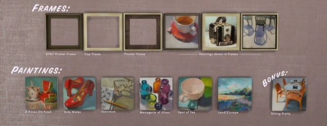 Frozen Moments paintings + frames at b5Studio image 1757 670x259 Sims 4 Updates