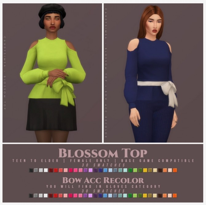 Sims 4 BLOSSOM TOP + BOW ACC RECOLOR at Candy Sims 4