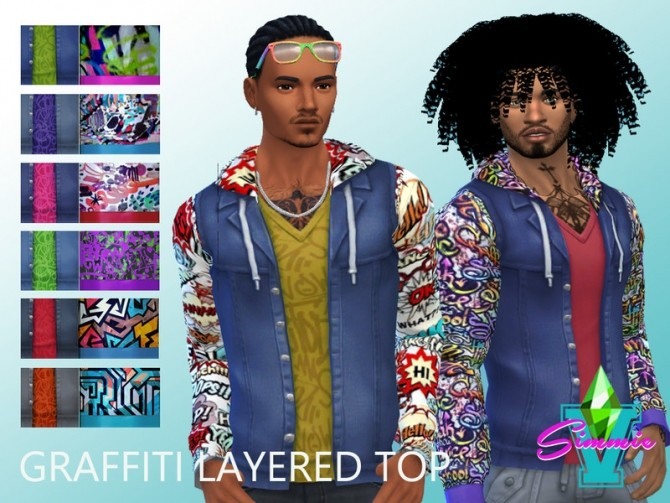 Sims 4 Graffiti Layered Top by SimmieV at TSR