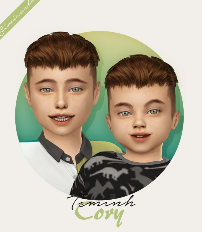 Sims 4 Tsminh Sims Cory hair for kids and toddlers at Simiracle
