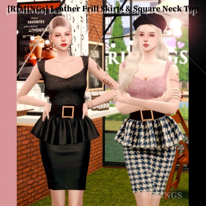 Leather Frill Skirts & Square Neck Top at RIMINGs image 1836 670x670 Sims 4 Updates