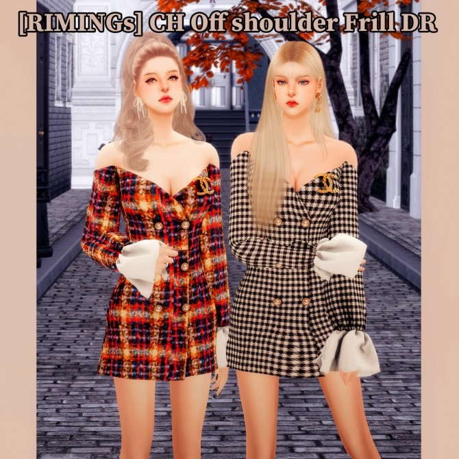Sims 4 Off shoulder Frill dress at RIMINGs