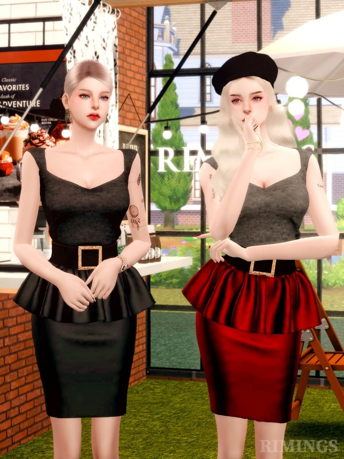 Leather Frill Skirts & Square Neck Top at RIMINGs image 1846 670x894 Sims 4 Updates