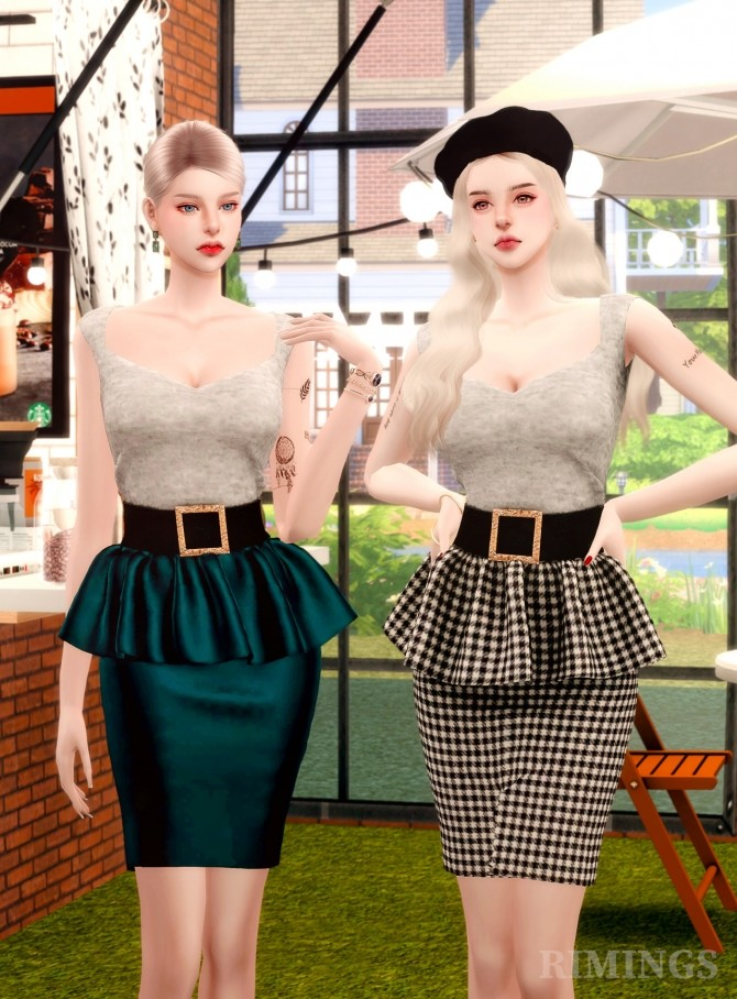 Leather Frill Skirts & Square Neck Top at RIMINGs image 1856 670x908 Sims 4 Updates