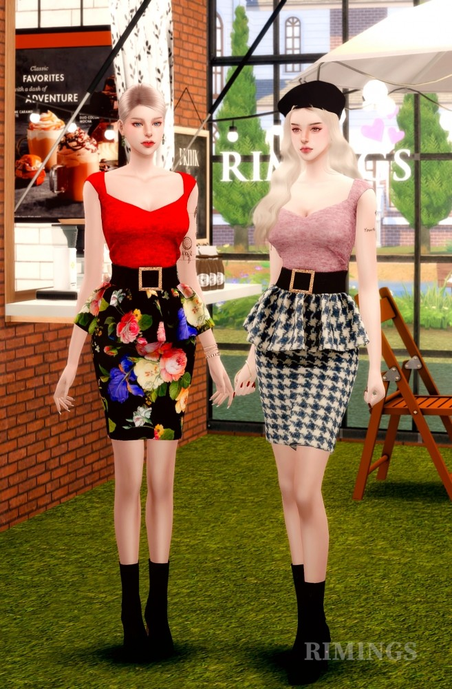 Leather Frill Skirts & Square Neck Top at RIMINGs image 1866 657x1000 Sims 4 Updates