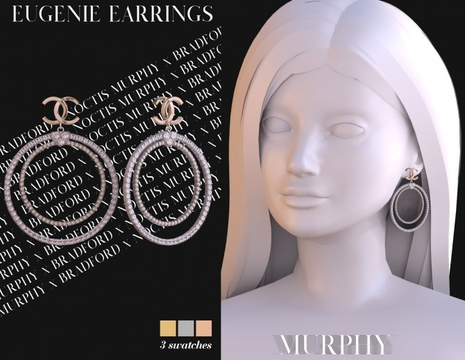 Eugenie Earrings by Silence Bradford at MURPHY image 1872 670x519 Sims 4 Updates