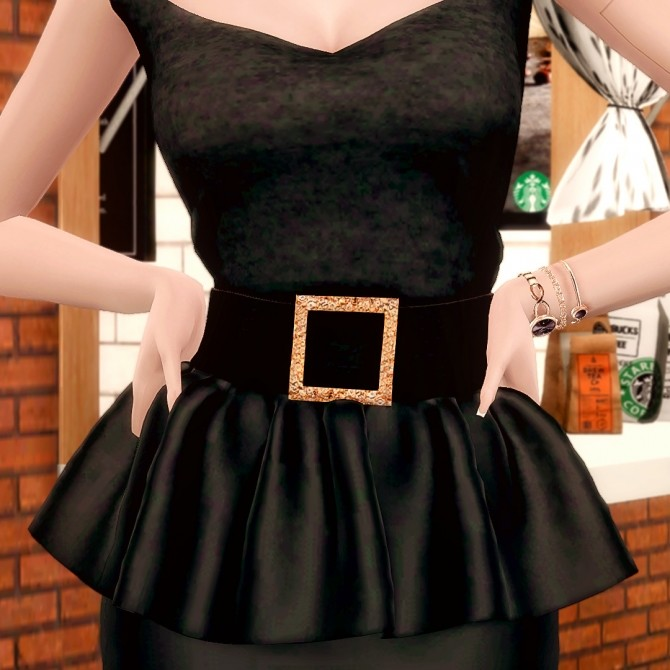 Leather Frill Skirts & Square Neck Top at RIMINGs image 1876 670x670 Sims 4 Updates