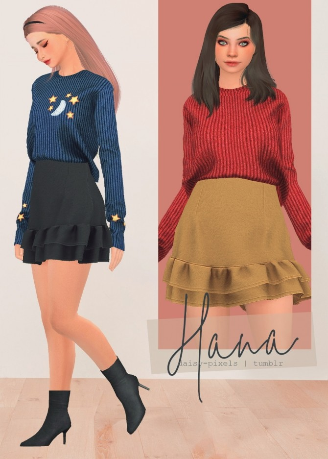 Hana Set: skirt and sweater at Daisy Pixels image 1937 670x937 Sims 4 Updates