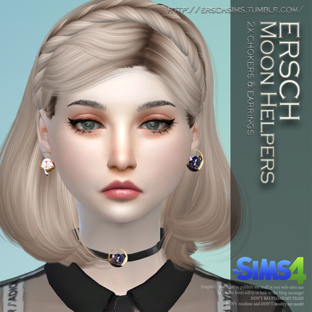 Moon Helpers Set: choker and earrings at ErSch Sims image 200 Sims 4 Updates