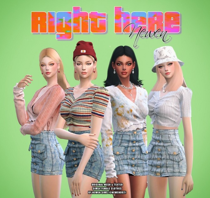 V neck Knit Crop + Ribbon Top + Denim Button Skirt at NEWEN image 2006 670x631 Sims 4 Updates