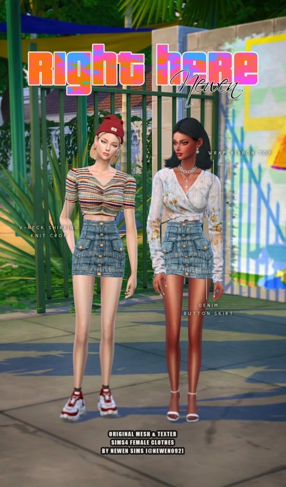 V neck Knit Crop + Ribbon Top + Denim Button Skirt at NEWEN image 20112 588x1000 Sims 4 Updates