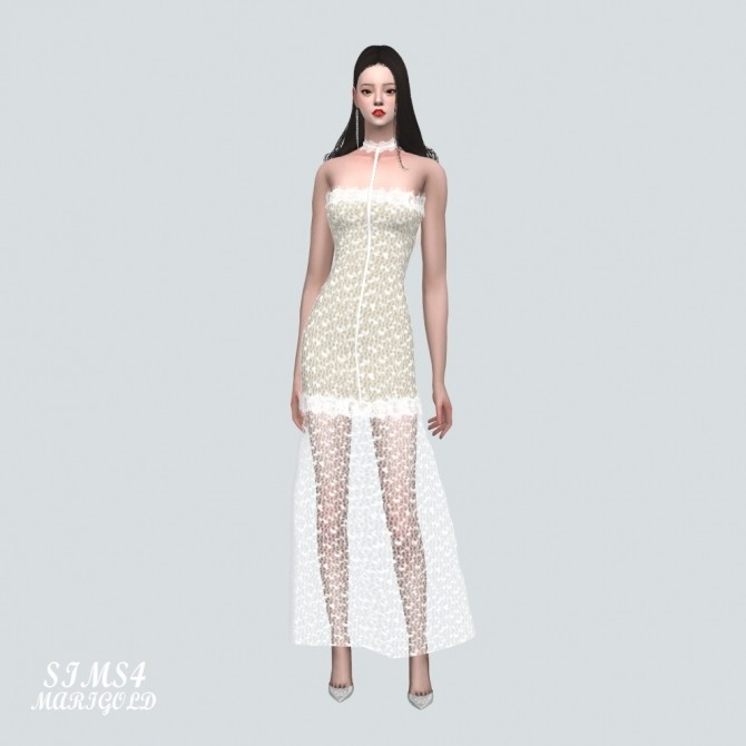 Sims 4 Lace Tube Top Long Dress at Marigold