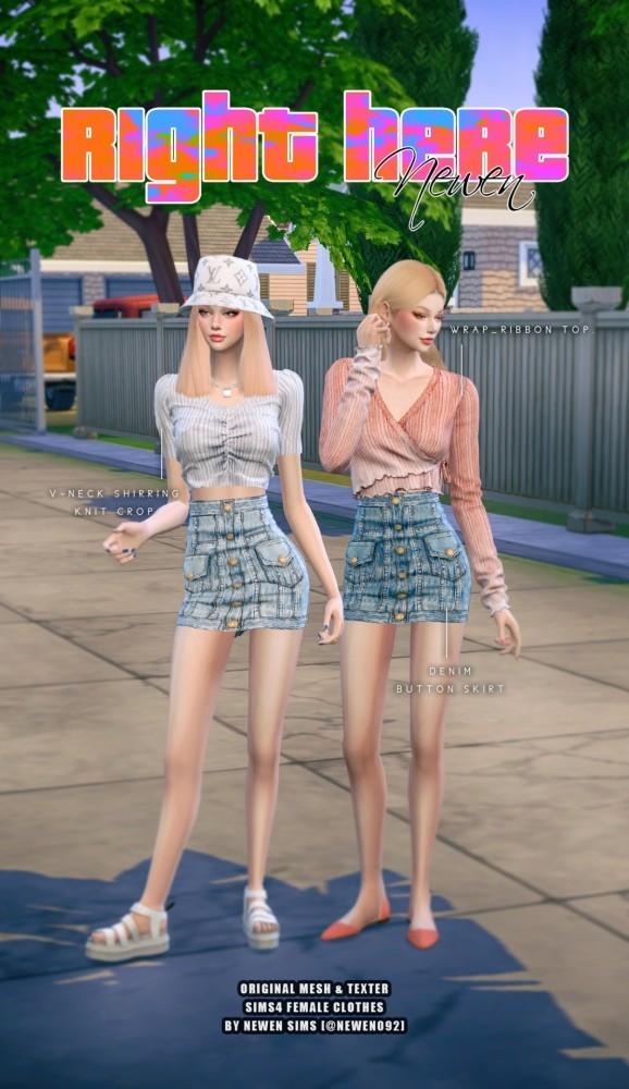 V neck Knit Crop + Ribbon Top + Denim Button Skirt at NEWEN image 20210 578x1000 Sims 4 Updates