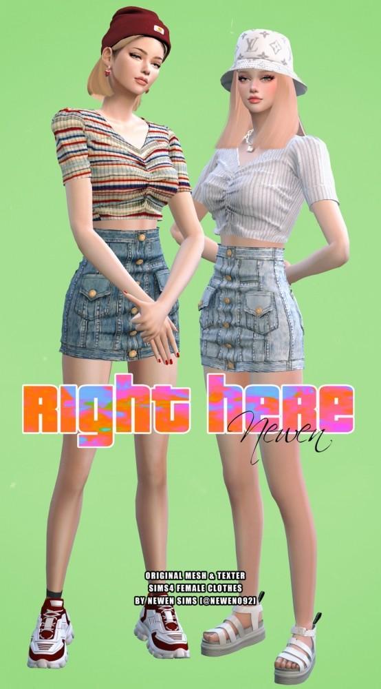 V neck Knit Crop + Ribbon Top + Denim Button Skirt at NEWEN image 2034 554x1000 Sims 4 Updates