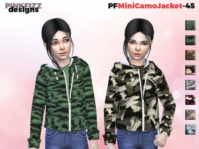 Sims 4 Mini Camo Jacket PF45 by Pinkfizzzzz at TSR
