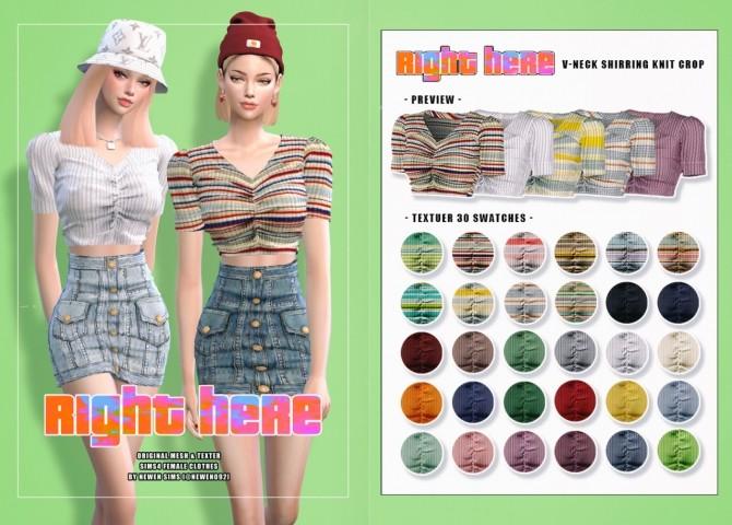 V neck Knit Crop + Ribbon Top + Denim Button Skirt at NEWEN image 2056 670x480 Sims 4 Updates