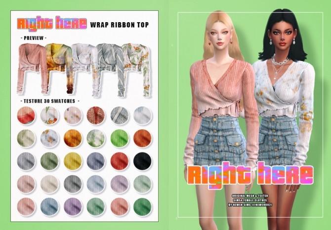 Sims 4 V neck Knit Crop + Ribbon Top + Denim Button Skirt at NEWEN