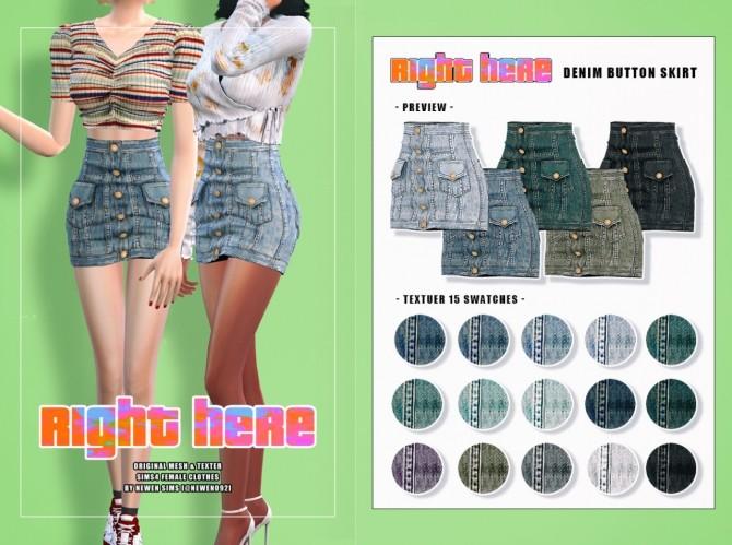 V neck Knit Crop + Ribbon Top + Denim Button Skirt at NEWEN image 2076 670x499 Sims 4 Updates