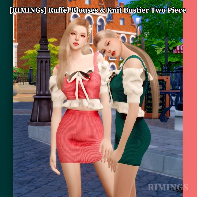 Ruffle blouse & knit bustier two piece outfit at RIMINGs image 2096 670x670 Sims 4 Updates