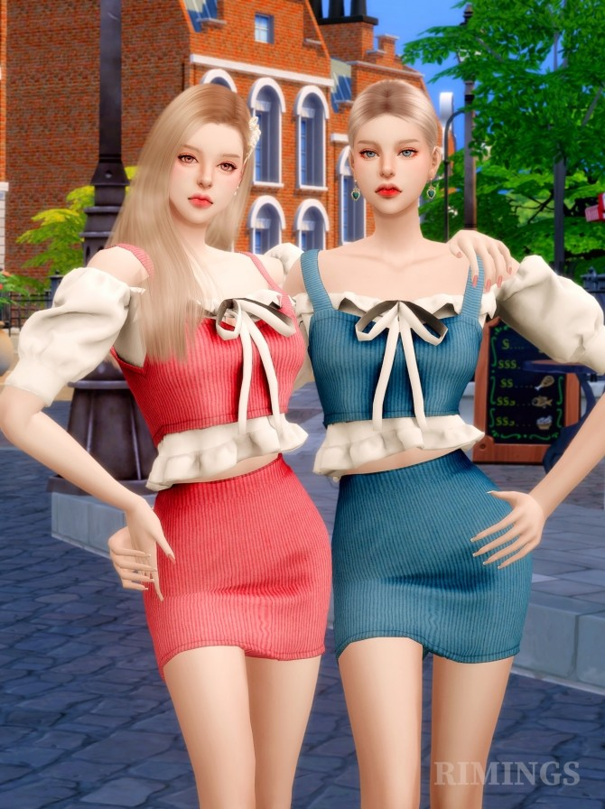 Sims 4 Ruffle blouse & knit bustier two piece outfit at RIMINGs