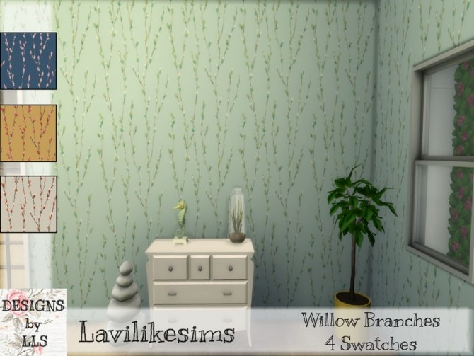 Sims 4 Willow Branches wall by lavilikesims at TSR