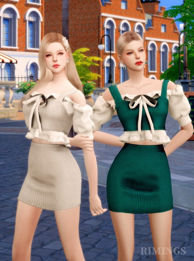 Ruffle blouse & knit bustier two piece outfit at RIMINGs image 21112 670x901 Sims 4 Updates