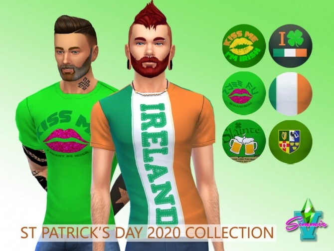 Sims 4 St Patrick 2020 teez by SimmieV at TSR