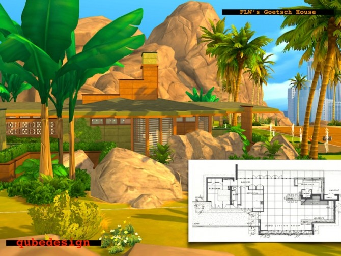 Sims 4 FLWs Goetsch House NoCC by QubeDesign at TSR