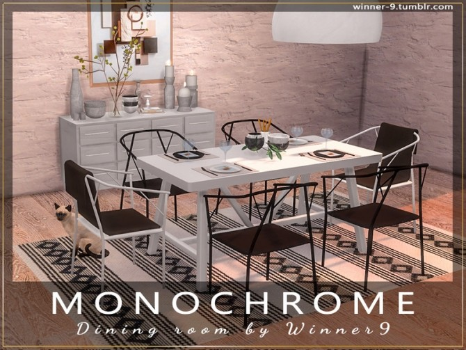 Monochrome Dining Room by Winner9 at TSR image 2218 670x503 Sims 4 Updates