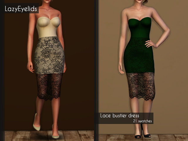 Sims 4 Lace bustier dress at LazyEyelids