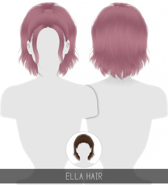 Sims 4 ELLA HAIR (2 VERSIONS) + TODDLER & CHILD at Simpliciaty
