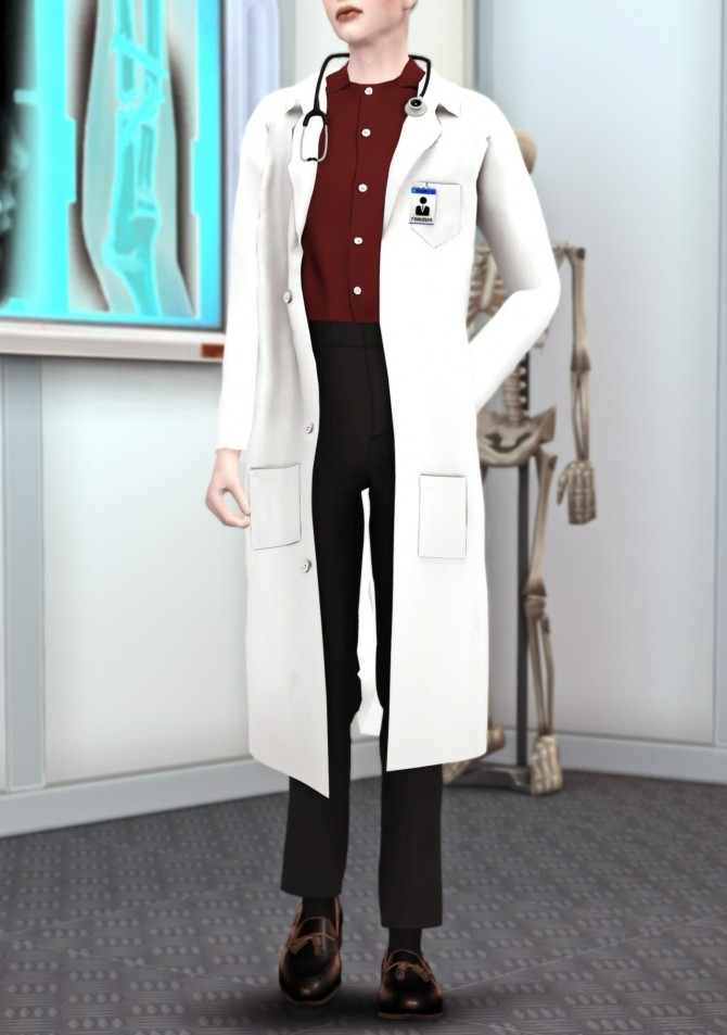 Dr. Mika white lab coat with stethoscope at MINZZA image 2354 670x953 Sims 4 Updates