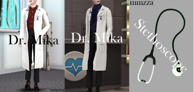 Sims 4 Dr. Mika white lab coat with stethoscope at MINZZA