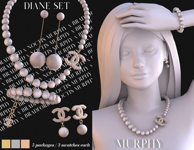 Sims 4 Diane Set: necklace, bracelet & earrings at MURPHY