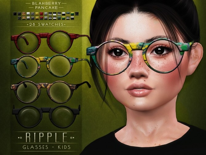 Sims 4 Solitude, Opulent, Ripple & Elision glasses for kids at Blahberry Pancake