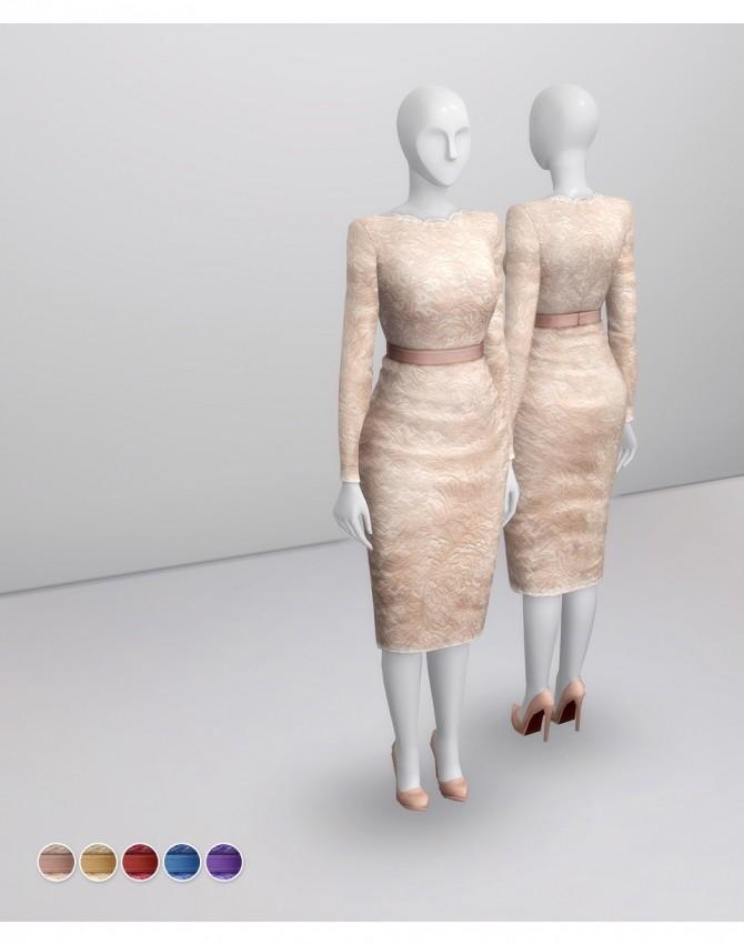 Sims 4 Champagne Lace Dress at Rusty Nail