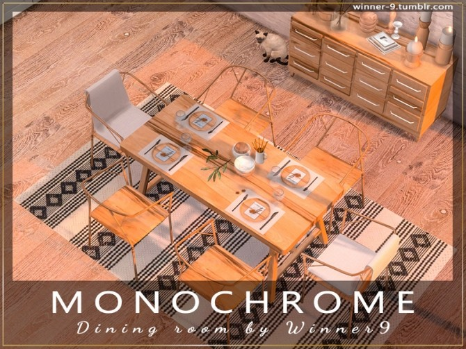 Monochrome Dining Room by Winner9 at TSR image 2513 670x503 Sims 4 Updates