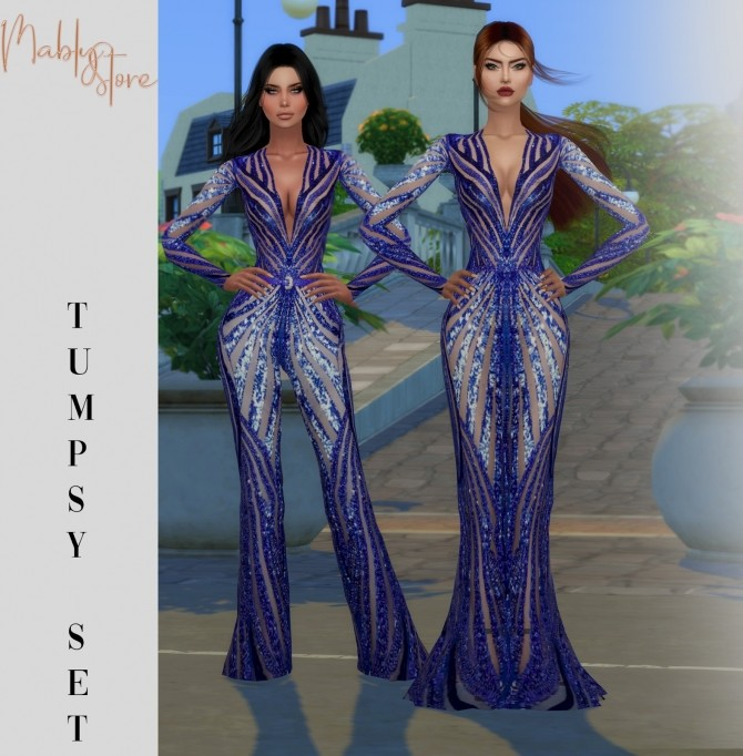 Sims 4 TUMPSY jumpsuit & gown at Mably Store