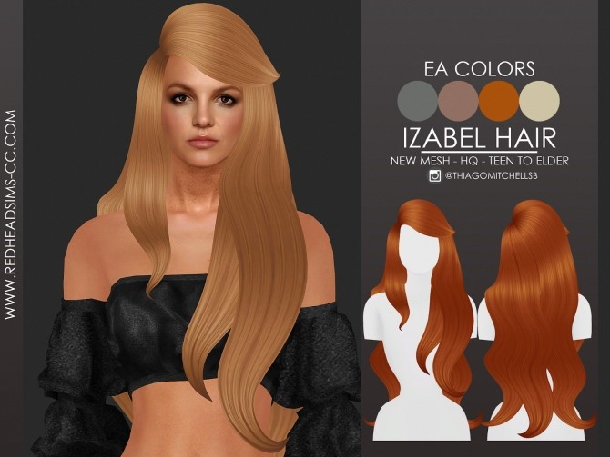 Sims 4 IZABEL HAIR by Thiago Mitchell at REDHEADSIMS