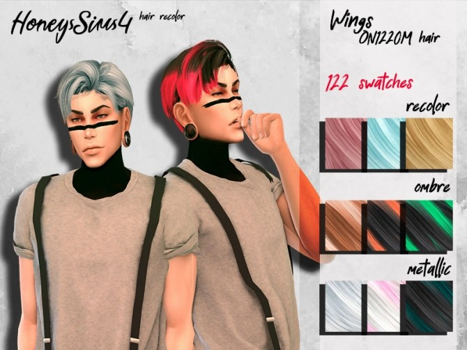 Sims 4 Male hair recolor Wings ON1220M by HoneysSims4 at TSR