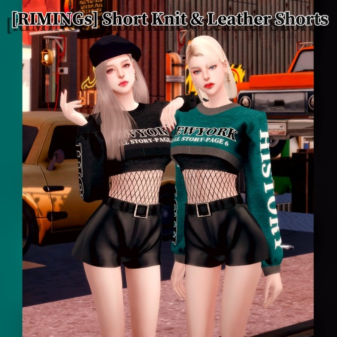 Short Knit & Leather Shorts at RIMINGs image 2652 670x670 Sims 4 Updates