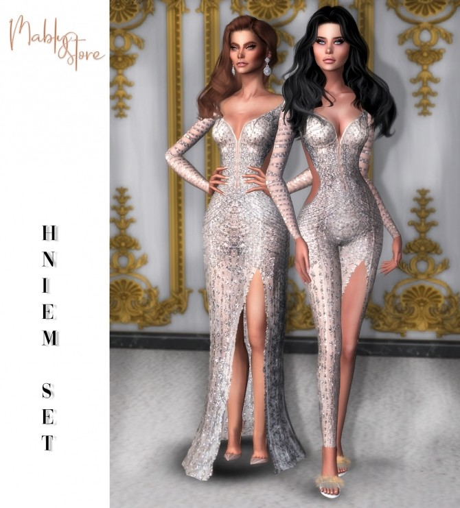Sims 4 HNIEM SET: gown and jumpsuit at Mably Store