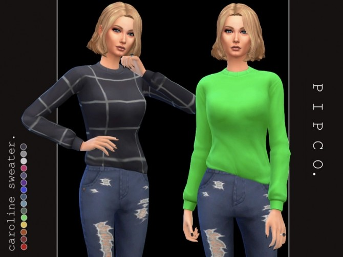 Caroline sweater by Pipco at TSR image 28 670x503 Sims 4 Updates