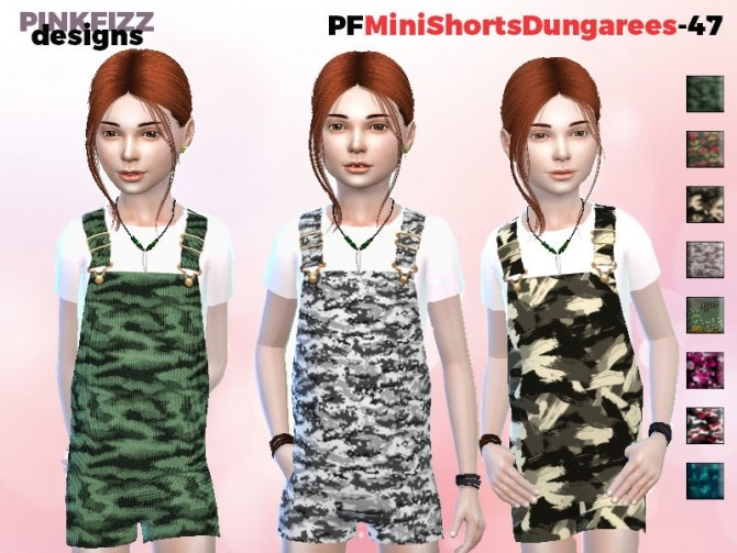 Sims 4 Mini Short Dungarees PF47 by Pinkfizzzzz at TSR