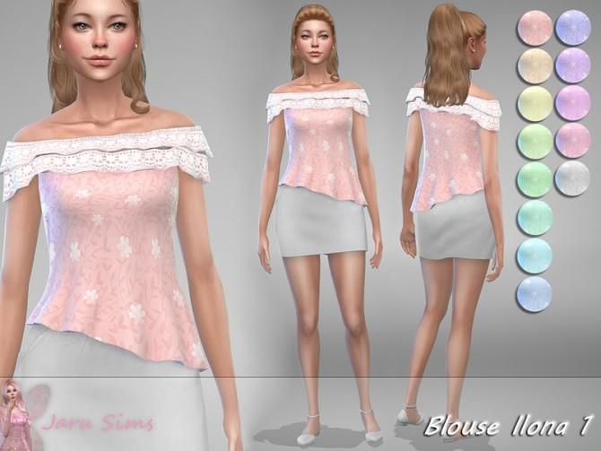 Sims 4 Blouse Ilona 1 by Jaru Sims at TSR