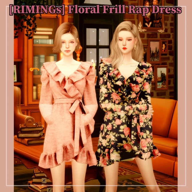 Floral Frill Rap dress at RIMINGs image 3031 670x670 Sims 4 Updates